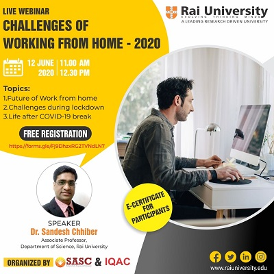 Webinar on Challenges of Working from Home -2020 on 12 June 2020
