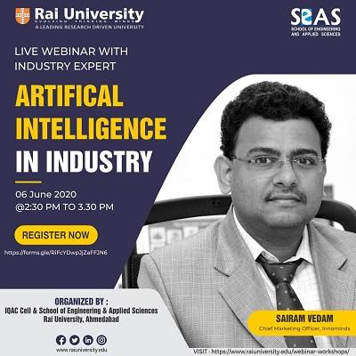Live Webinar on Artificial Intelligence in Industry on 6 June 2020