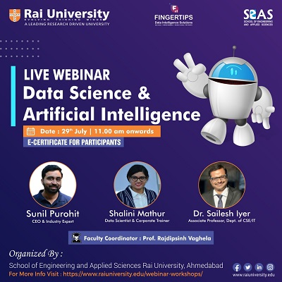 """Webinar on """"Data Science and Artificial Intelligence on 29 July 2020"""