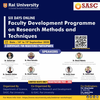 """Six Days Online Faculty Development Programme """"Research methods and Techniques"""" from 14th September – 19th September 2020."""