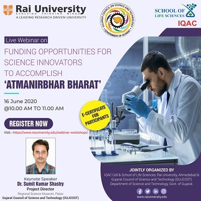 "Webinar on Funding Opportunities for Science Innovators to accomplish ""ATMANIRBHAR BHARAT"" on 16 June 2020"
