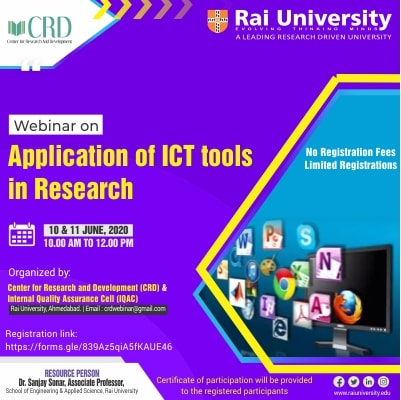 Webinar on Application of ICT Tools in Research on 10-11 June 2020